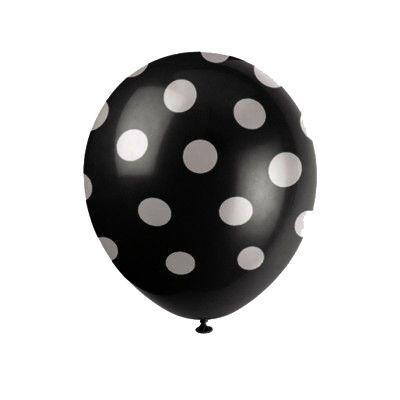 Ballonger - prickar - svart - 6 st