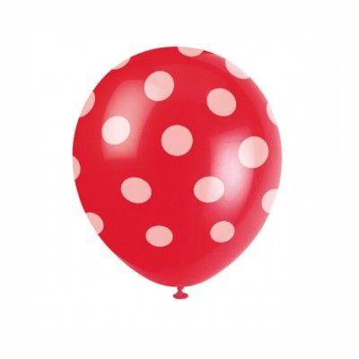 Ballonger - prickar - röd - 6 st