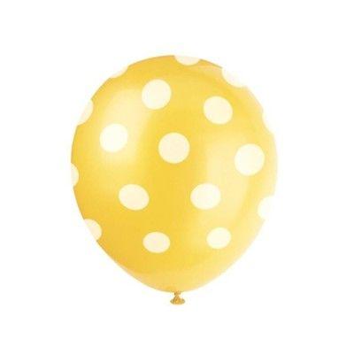 Ballonger - prickar - gul - 6st