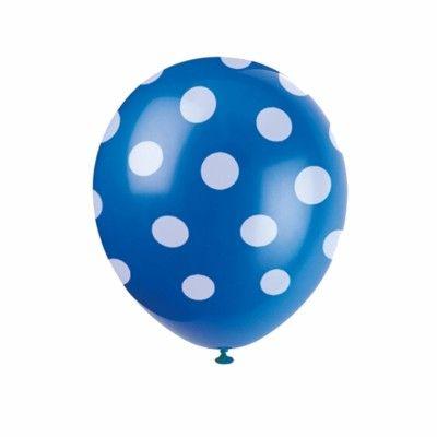 Ballonger - prickar - blå - 6 st