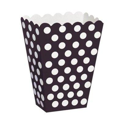 Popcornboxar - svart med vita prickar - 8 st