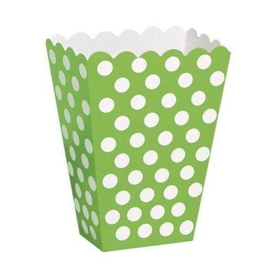Popcornboxar - lime med vita prickar - 8 st