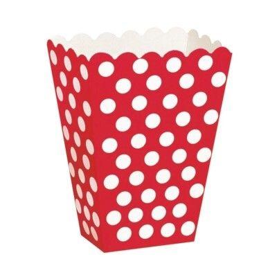 Popcornboxar - röd med vita prickar - 8 st