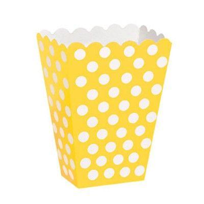 Popcornboxar - gul med vita prickar - 8 st