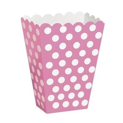 Popcornboxar - cerise med vita prickar - 8 st