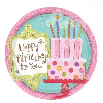 Kalastallrikar - happy birthday - 8 st