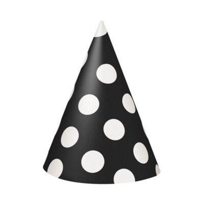 Partyhattar - svart med vita prickar - 8 st