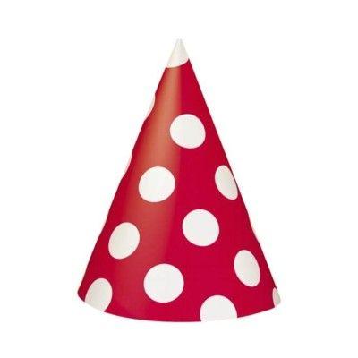 Partyhattar - röd med vita prickar - 8 st