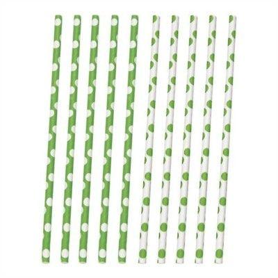 Sugrör av papper - prickar - lime/vit - 10 st