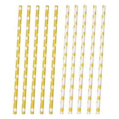 Sugrör av papper - prickar - gul/vit - 10 st