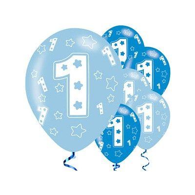 Ballonger - 1 år - blå metallic - 6 st