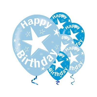 Ballonger - happy birthday - blå metallic - 6 st