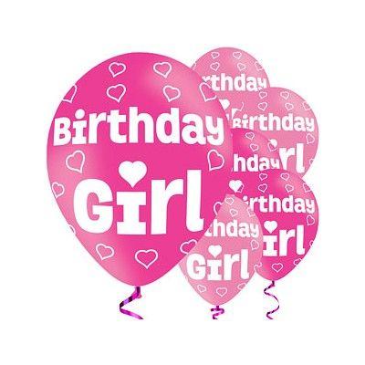 Ballonger - Birthday Girl - rosa metallic - 6 st