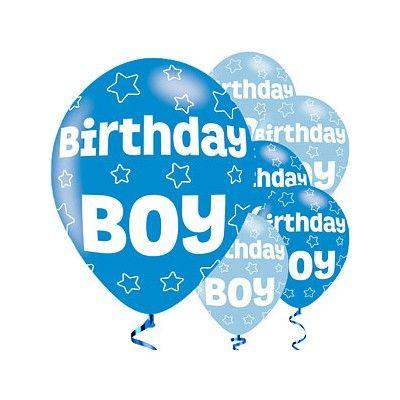 Ballonger - Birthday Boy - blå metallic - 6 st
