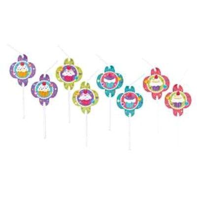 Sugrör med dekorationer - cupcakes  - 8 st