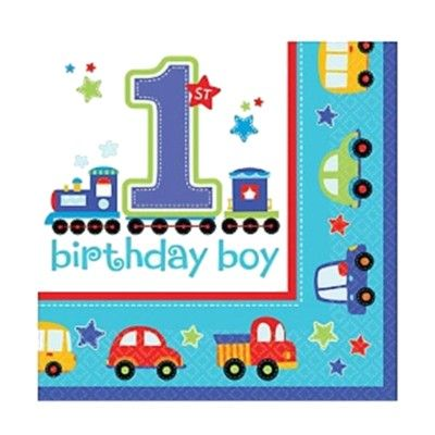 Kalasservetter - Birthday Boy 1 år - 16 st