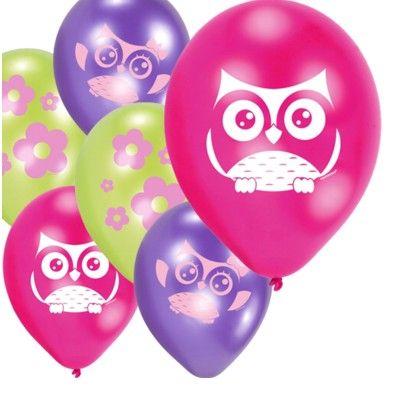 Ballonger - ugglevänner - 6 st