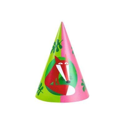 Partyhattar - glada djur - 8 st