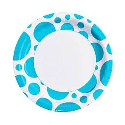 Kalastallrikar - dots - turkos - 8 st