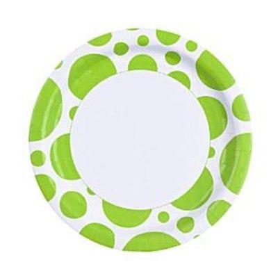 Kalastallrikar - dots - lime - 8 st