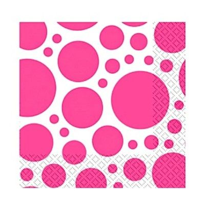 Kalasservetter - dots - cerise - 20 st