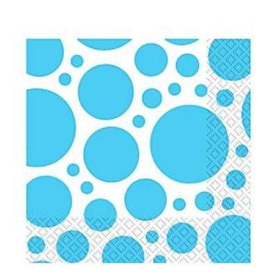 Kalasservetter - dots - turkos - 20 st