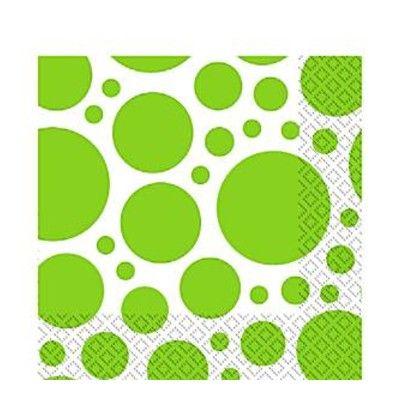 Kalasservetter - dots - lime - 20 st