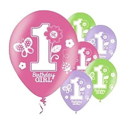 Ballonger - Birthday Girl 1 år - 6 st