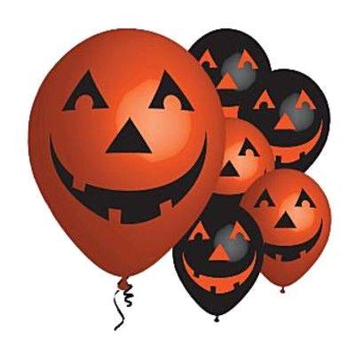 Ballonger - Orange/svarta med pumpa - 6 st