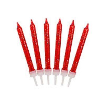 Tårtljus - röd med glitter - 12 st