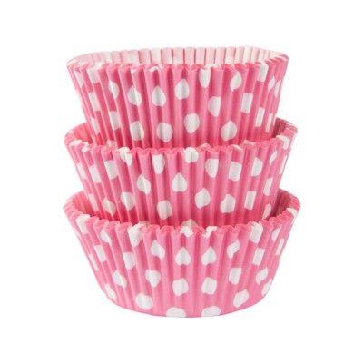 Muffinsformar - rosa med prickar - 75 st