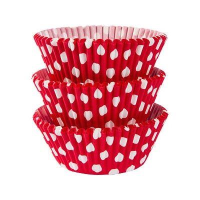 Muffinsformar - röd med prickar - 75 st