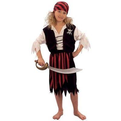Pirat med kjol - maskeradkostym, 5-6 år