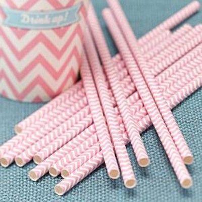 Sugrör av papper - Chevron Divine - rosa - 25 st