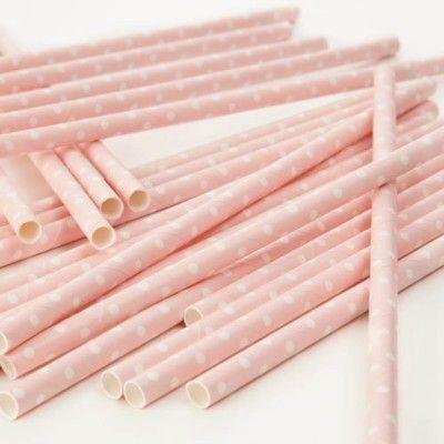 Sugrör av papper - prickar - rosa/vit - 25 st