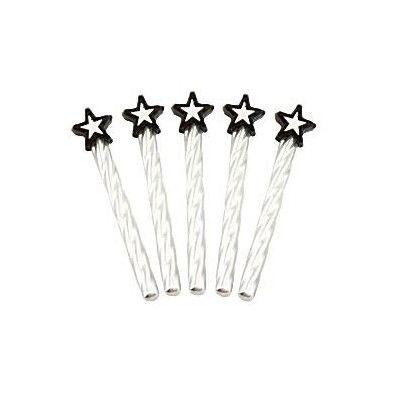 Tårtljus - silver med svarta stjärnor - 8 st