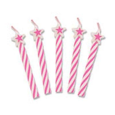 Tårtljus - rosa med stjärnor - 8 st