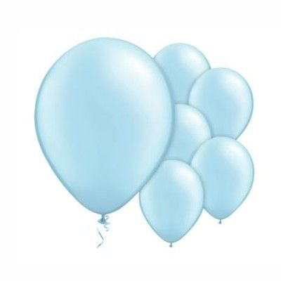 Ballonger - ljusblå metallic - 10 st