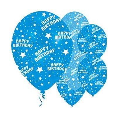 Ballonger - happy birthday - blå - 6 st