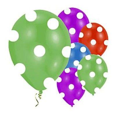Ballonger - metallic med vita prickar - 6 st