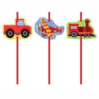 Sugrör med dekorationer - fordon - 6 st