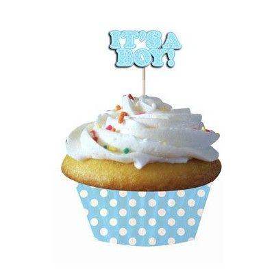 Muffinsformar - ljusblå - It's a boy - 12 st