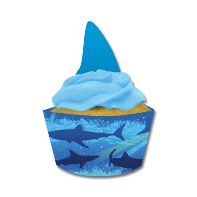 Cupcake wraps till muffinformar - Shark splash - 12 st