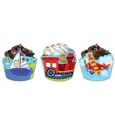 Cupcake wraps till muffinsformar - fordon - 12 st