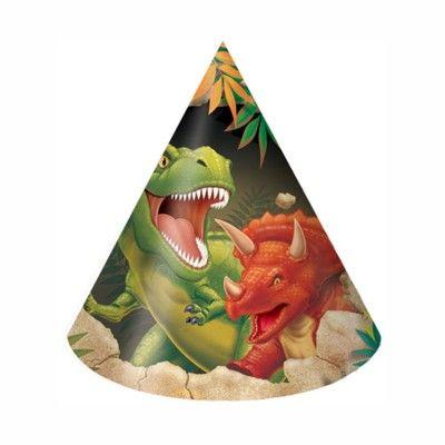 Partyhattar - dinosaurier - 8 st