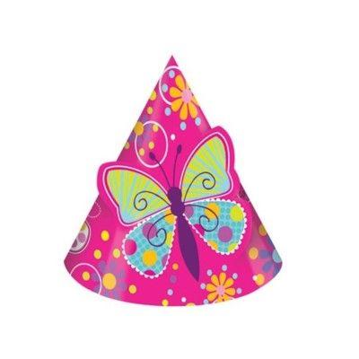 Partyhattar - fjärilar - 8 st