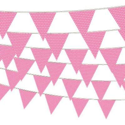 Flaggirlang/vimpel - prickar - rosa