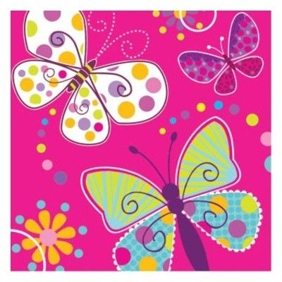 Kalasservetter - fjärilar - 16 st