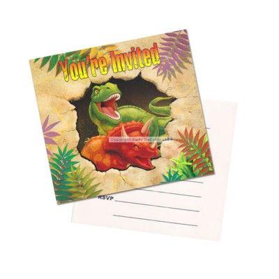 Inbjudningskort - dinosaurier - 8 st