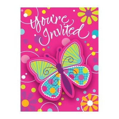 Inbjudningskort - fjärilar - 8 st
